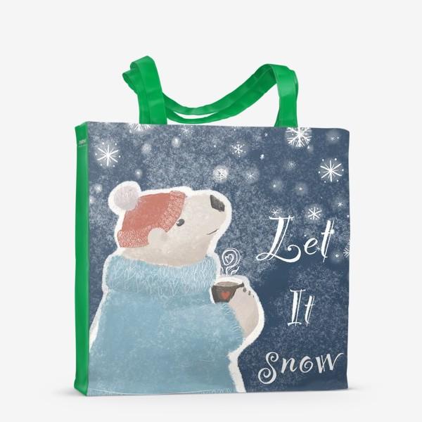 Сумка-шоппер «Let it snow. Белый медведь в свитере с кружкой какао.Новогодний, зимний, рождественский принт»