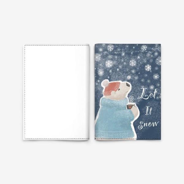 Обложка для паспорта «Let it snow. Белый медведь в свитере с кружкой какао.Новогодний, зимний, рождественский принт»