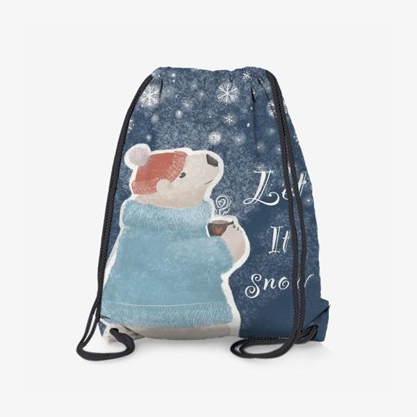 Рюкзак «Let it snow. Белый медведь в свитере с кружкой какао.Новогодний, зимний, рождественский принт»