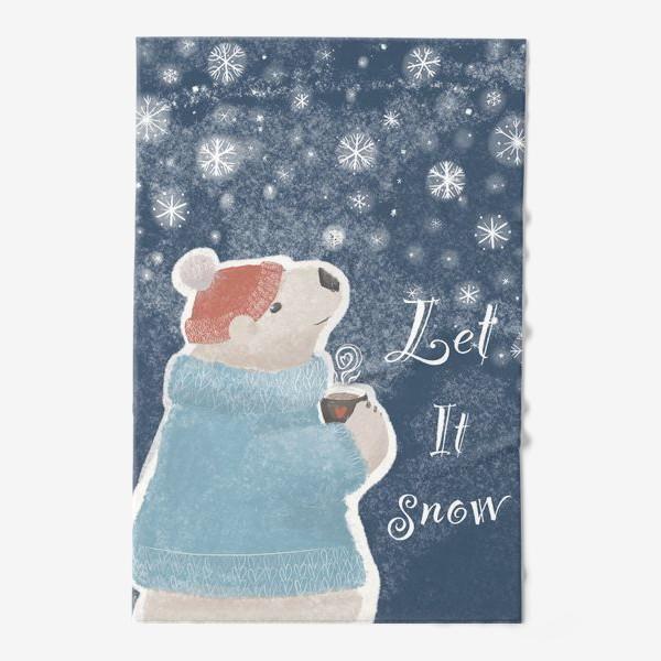 Полотенце «Let it snow. Белый медведь в свитере с кружкой какао.Новогодний, зимний, рождественский принт»