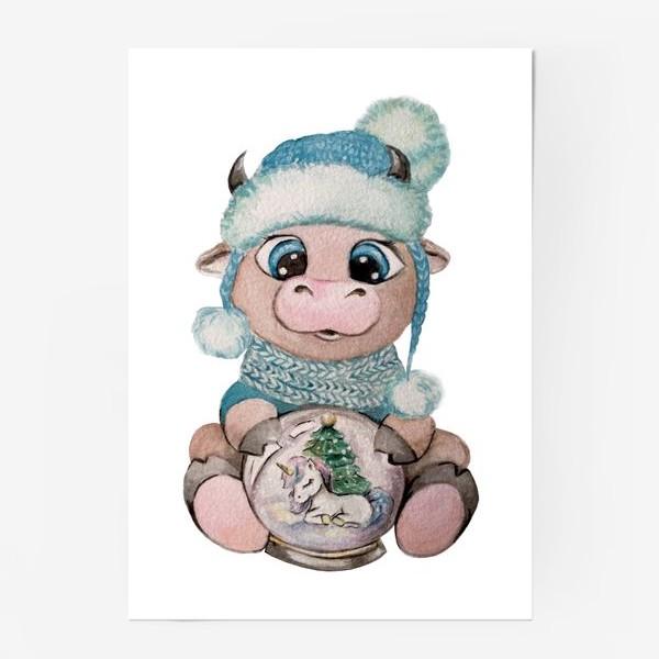 Постер «Милый Бык снежный шар единорог Новый Год 2021»