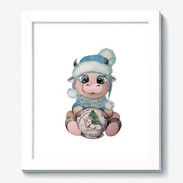 Картина «Милый Бык снежный шар единорог Новый Год 2021»