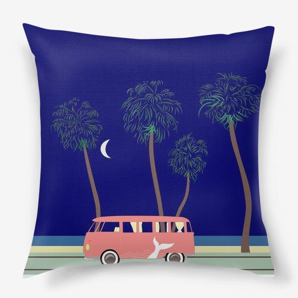 Подушка «Ретро автобус на побережье, пальмы, луна, лето»