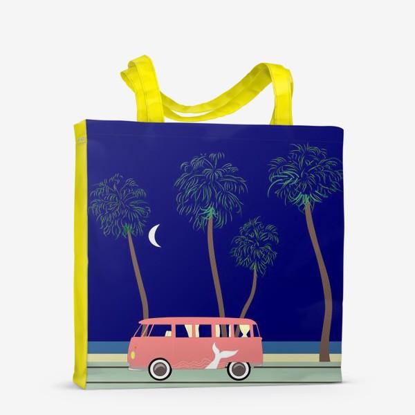 Сумка-шоппер «Ретро автобус на побережье, пальмы, луна, лето»