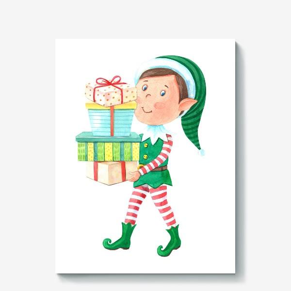 Холст «Новогодний мальчик-эльф с подарками»