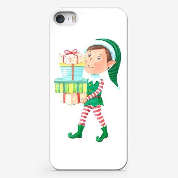 Чехол iPhone «Новогодний мальчик-эльф с подарками»