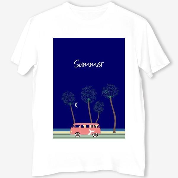 Футболка «Ретро автобус на побережье, пальмы, луна, лето»