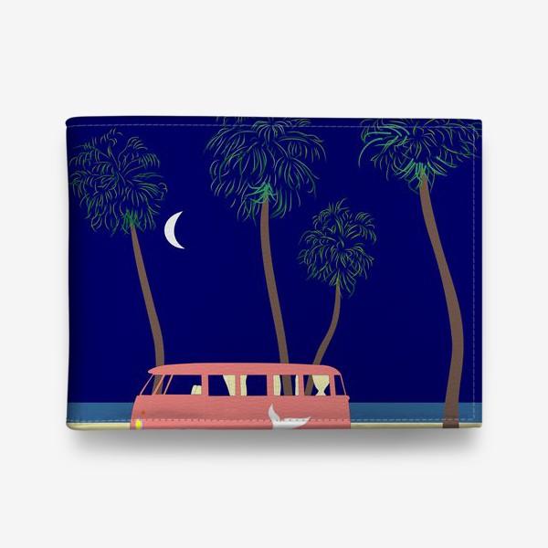 Кошелек «Ретро автобус на побережье, пальмы, луна, лето»