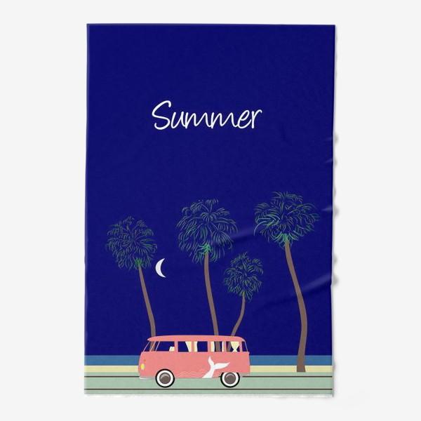 Полотенце «Ретро автобус на побережье, пальмы, луна, лето»
