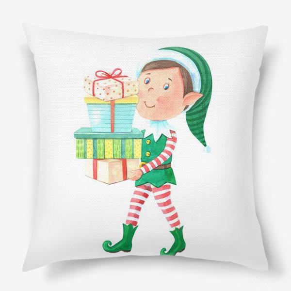 Подушка «Новогодний мальчик-эльф с подарками»
