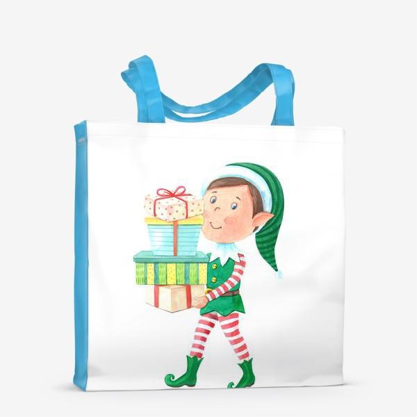 Сумка-шоппер «Новогодний мальчик-эльф с подарками»