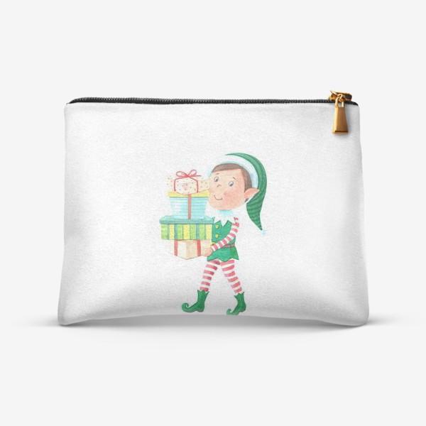 Косметичка «Новогодний мальчик-эльф с подарками»