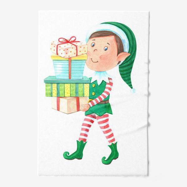 Полотенце «Новогодний мальчик-эльф с подарками»