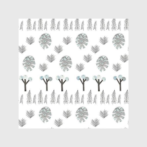 Шторы «Зимний лесной паттерн 1 (шишки, елки, ветки)»