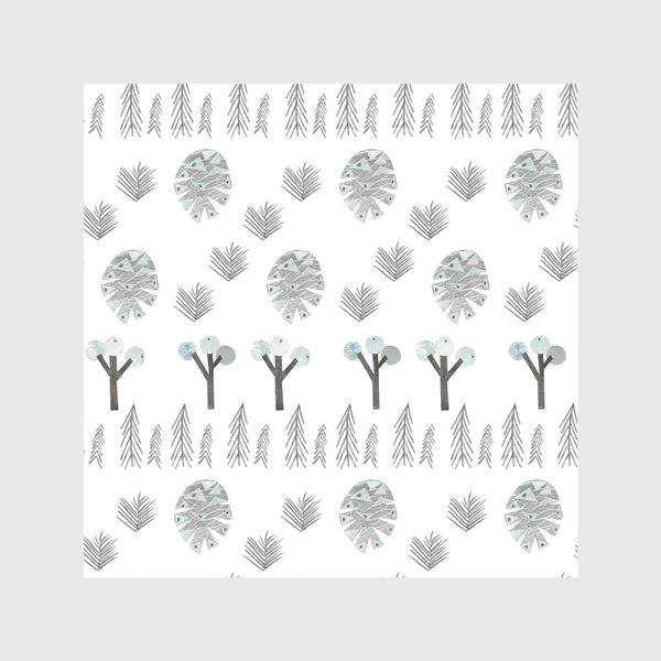 Скатерть «Зимний лесной паттерн 1 (шишки, елки, ветки)»