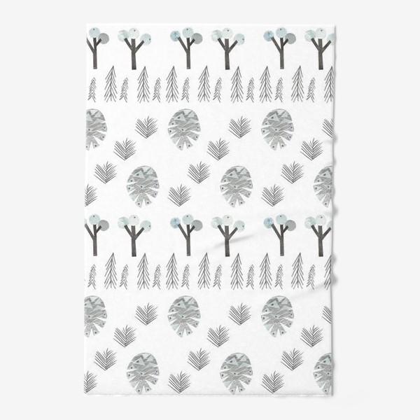 Полотенце «Зимний лесной паттерн 1 (шишки, елки, ветки)»
