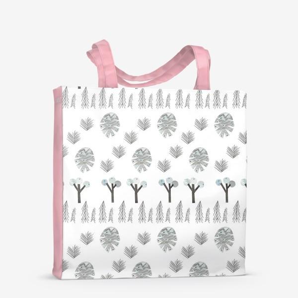 Сумка-шоппер «Зимний лесной паттерн 1 (шишки, елки, ветки)»
