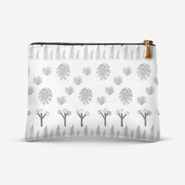 Косметичка «Зимний лесной паттерн 1 (шишки, елки, ветки)»