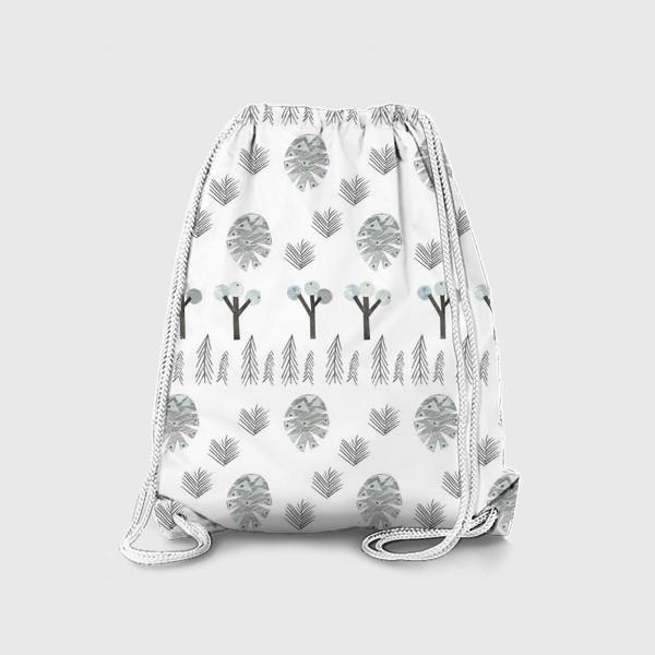 Рюкзак «Зимний лесной паттерн 1 (шишки, елки, ветки)»