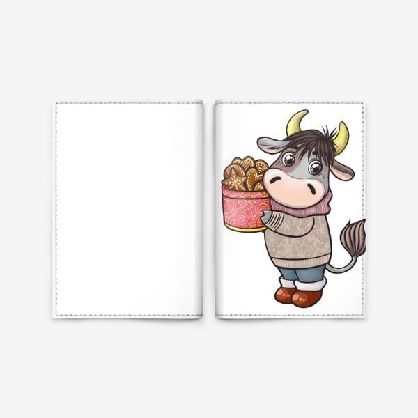 Обложка для паспорта «Бычок с печеньем. Символ 2021 года»