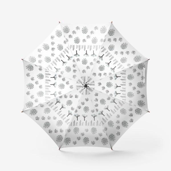 Зонт «Зимний лесной паттерн 1 (шишки, елки, ветки)»