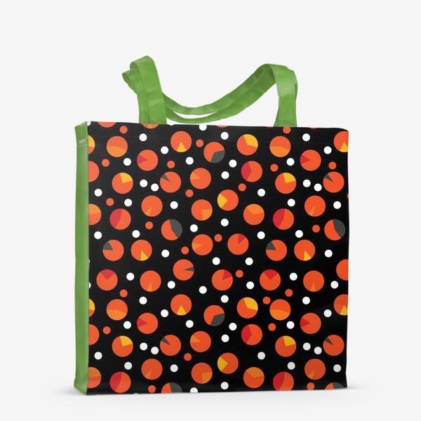 Сумка-шоппер «Яркие цветные круги на черном фоне»
