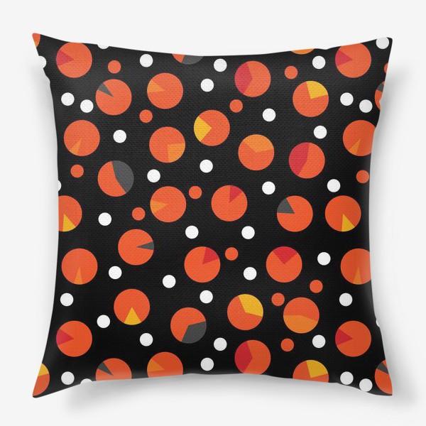 Подушка «Яркие цветные круги на черном фоне»