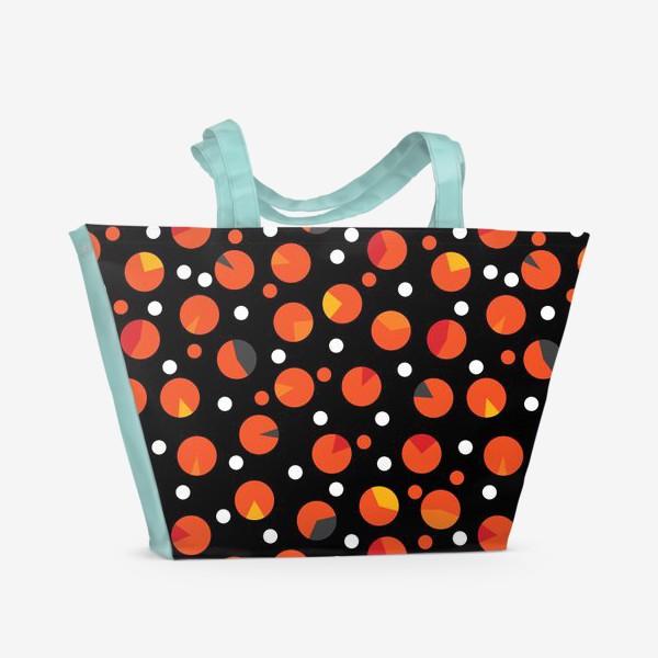 Пляжная сумка «Яркие цветные круги на черном фоне»