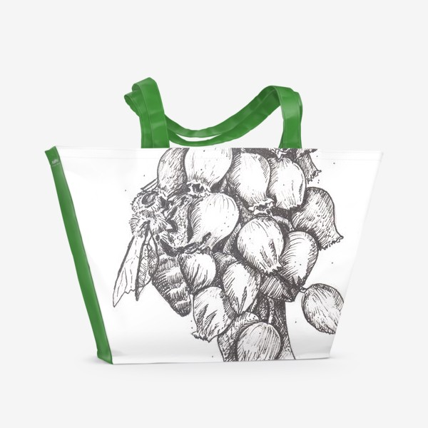 Пляжная сумка «Мускари и пчела»
