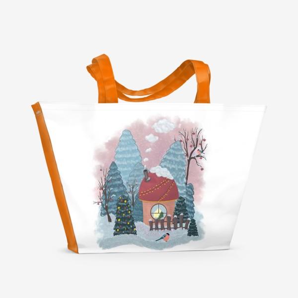 Пляжная сумка «Уютный лесной домик»