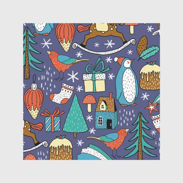 Скатерть «Пингвины, птички, лошадки, шишки, елки, домики, подарки, горы. Темный фон. Зима, Новый год!»