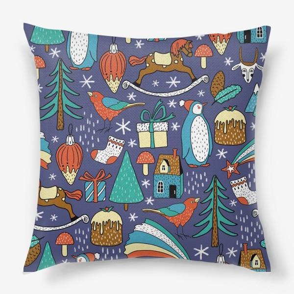 Подушка «Пингвины, птички, лошадки, шишки, елки, домики, подарки, горы. Темный фон. Зима, Новый год!»