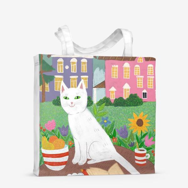 Сумка-шоппер «Милая белая кошка в летнем саду.»
