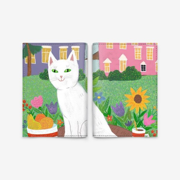 Обложка для паспорта «Милая белая кошка в летнем саду.»