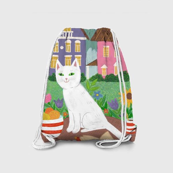 Рюкзак «Милая белая кошка в летнем саду.»