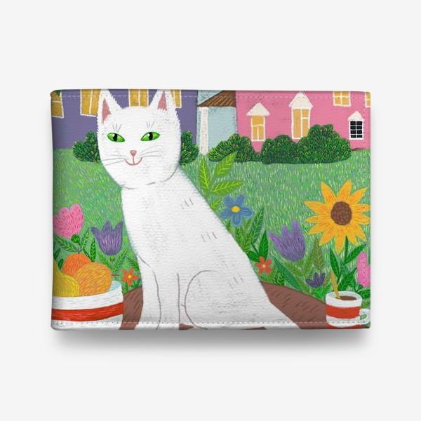 Кошелек «Милая белая кошка в летнем саду.»