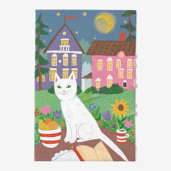 Полотенце «Милая белая кошка в летнем саду.»