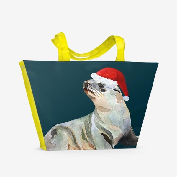 Пляжная сумка «Новогодний морской котик»