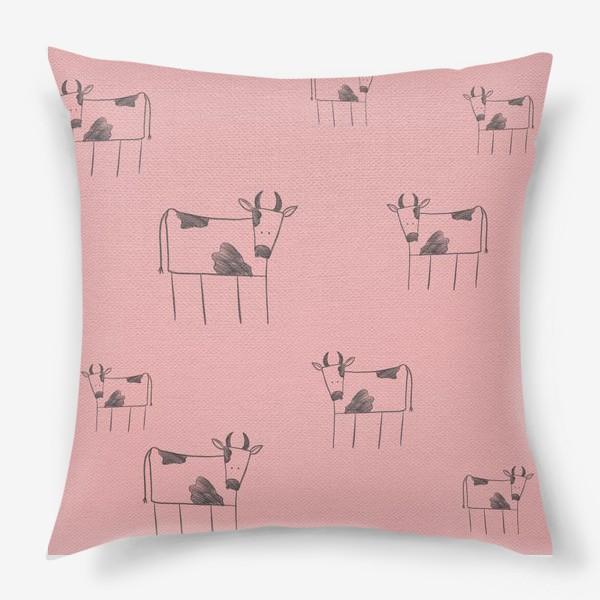 Подушка «Бык, корова. Паттерн»