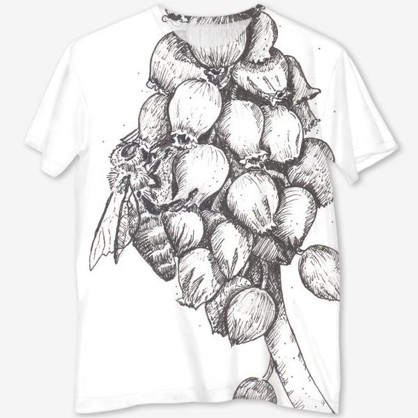 Футболка с полной запечаткой «Мускари и пчела»