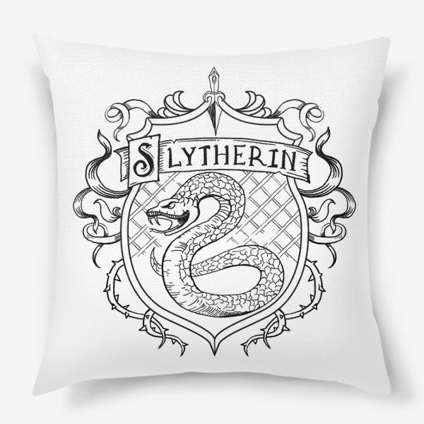 Подушка «Герб факультета Слизерин. Гарри Поттер. Slytherin Crest. Harry Potter»
