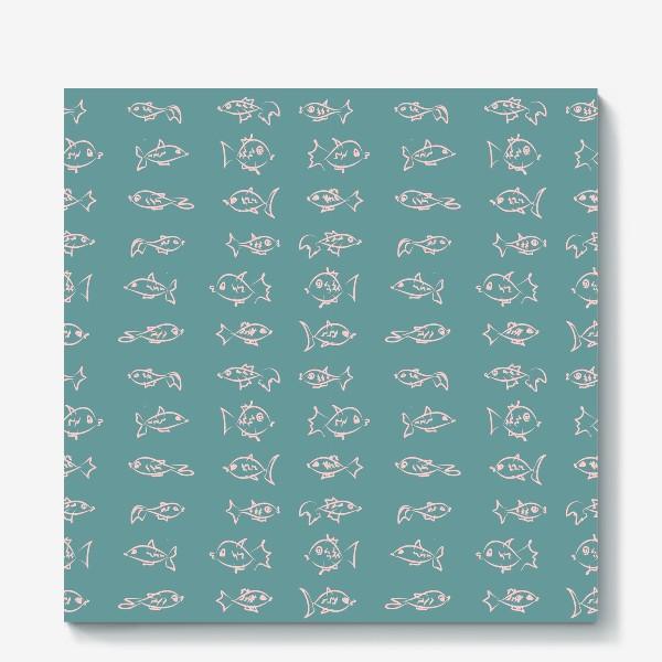 Холст «Рыбы нарисованные розовым контуром  на бирюзовом фоне»