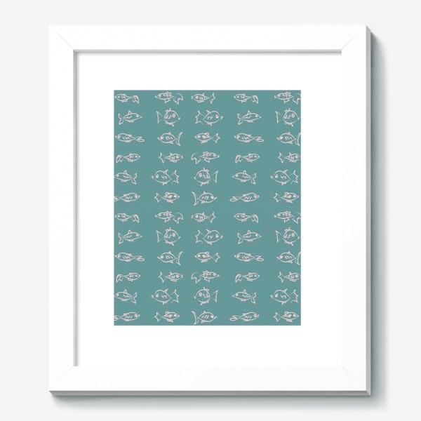 Картина «Рыбы нарисованные розовым контуром  на бирюзовом фоне»