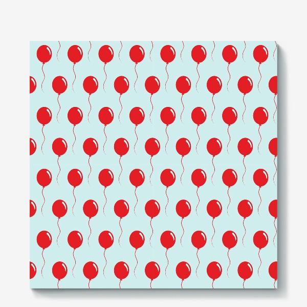 Холст «Красные воздушные шарики на веревке на голубом фоне»