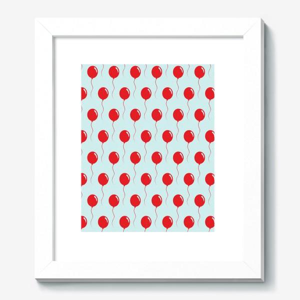Картина «Красные воздушные шарики на веревке на голубом фоне»