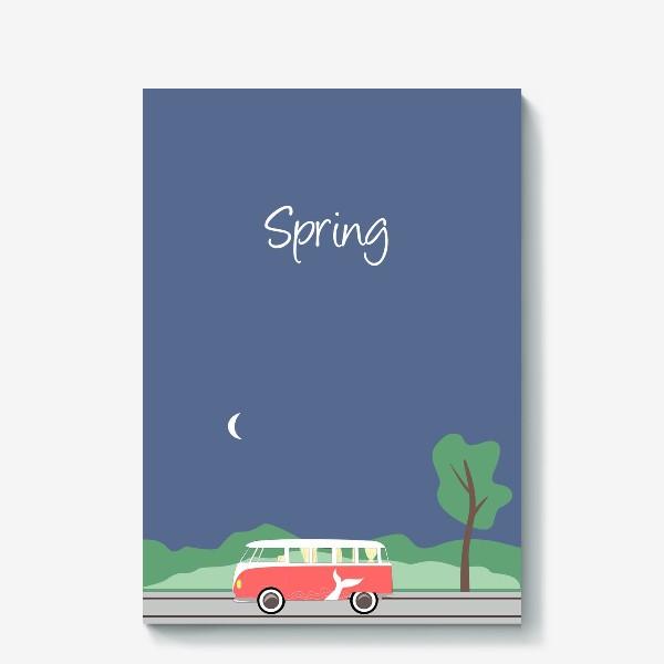 Холст «Винтажный автобус на дороге весной, дерево, зелень и луна»