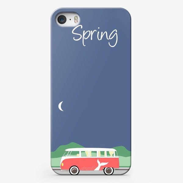 Чехол iPhone «Винтажный автобус на дороге весной, дерево, зелень и луна»