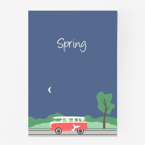 Постер «Винтажный автобус на дороге весной, дерево, зелень и луна»