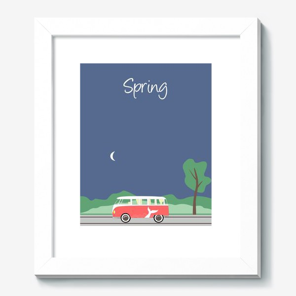 Картина «Винтажный автобус на дороге весной, дерево, зелень и луна»