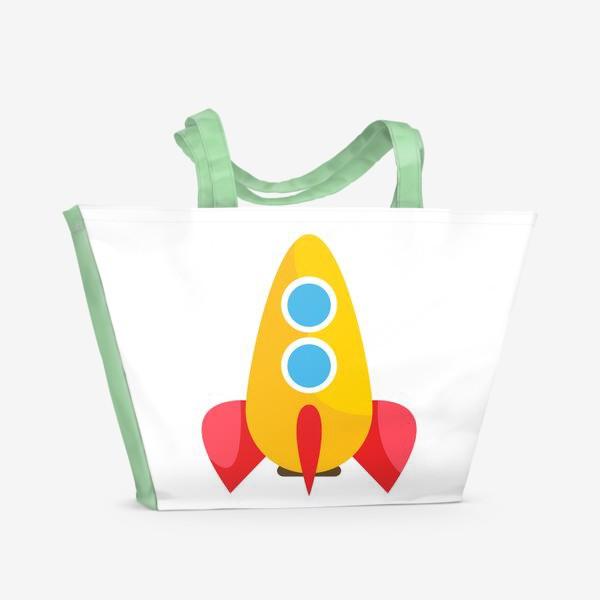 Пляжная сумка «Ракета мультяшная»